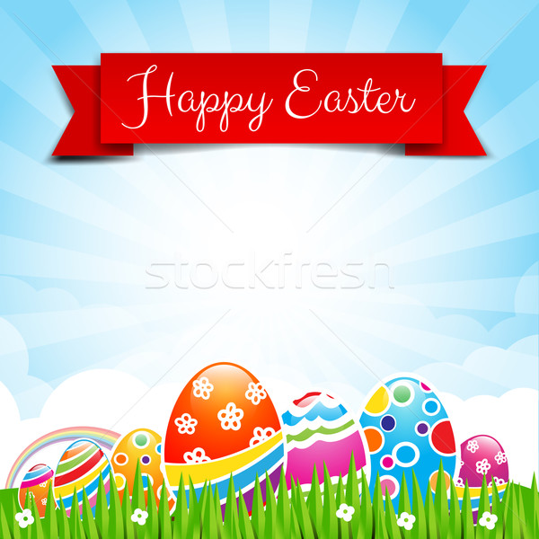 Happy easter egg text with ribbon on Nature background 002 Stock photo © kaikoro_kgd