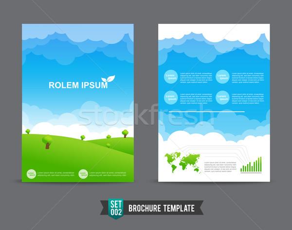 Uçan broşür şablon tasarım şablonu eco kitap Stok fotoğraf © kaikoro_kgd