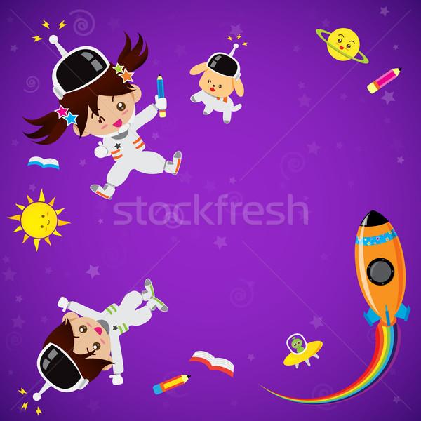 Sevimli çocuklar uzay yer erkek kız Stok fotoğraf © kaikoro_kgd