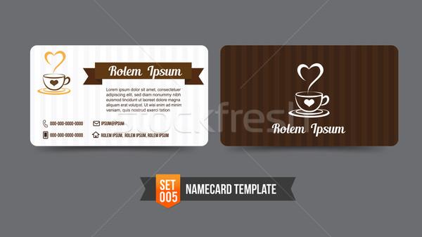 Kartvizit şablon ayarlamak kahvehane iş Internet Stok fotoğraf © kaikoro_kgd