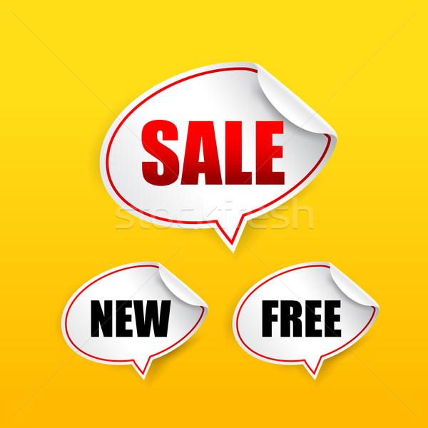 Toplama satış ücretsiz yeni etiket konuşma balonu Stok fotoğraf © kaikoro_kgd