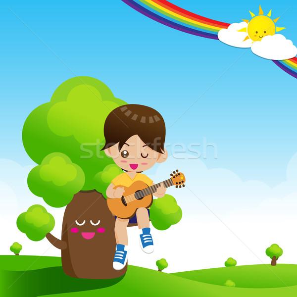 Stockfoto: Cute · weinig · jongen · kind · spelen · muziek