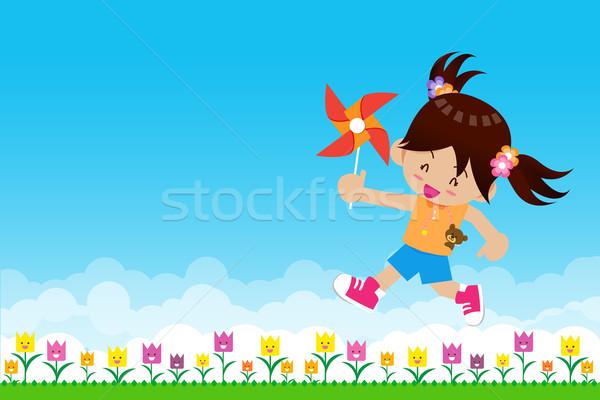 少女 紙 風力タービン 自然 緑 緑の草 ストックフォト © kaikoro_kgd
