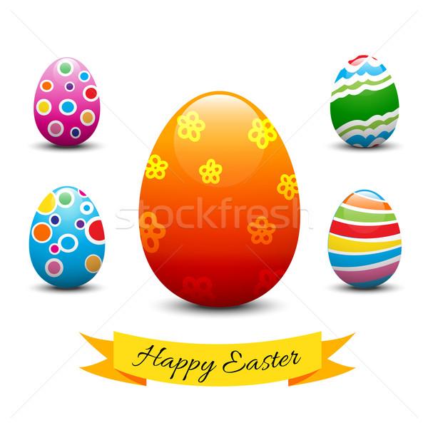 Toplama easter egg iyi paskalyalar yumurta 3D Paskalya Stok fotoğraf © kaikoro_kgd