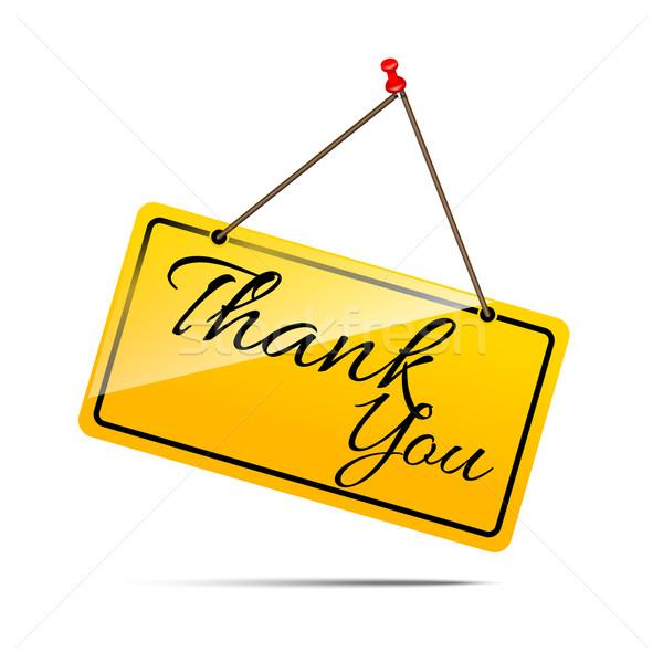 Teşekkür ederim sarı imzalamak mesaj simge vektör Stok fotoğraf © kaikoro_kgd