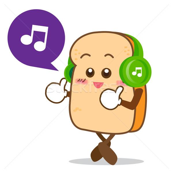 Yalıtılmış mutlu gülümseme dinleme müzik dilim Stok fotoğraf © kaikoro_kgd