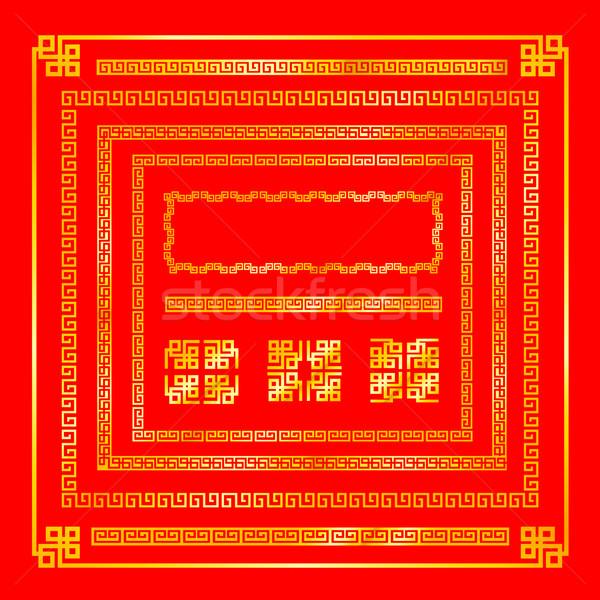 ストックフォト: 中国語 · スタイル · 金 · 国境 · 装飾