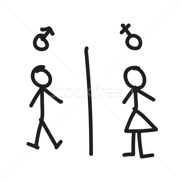 Line hand drawing of man and woman Stock photo © kaikoro_kgd