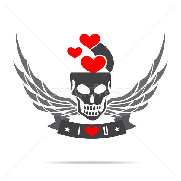 スケルトン 頭蓋骨 翼 ロゴ エンブレム ストックフォト © kaikoro_kgd