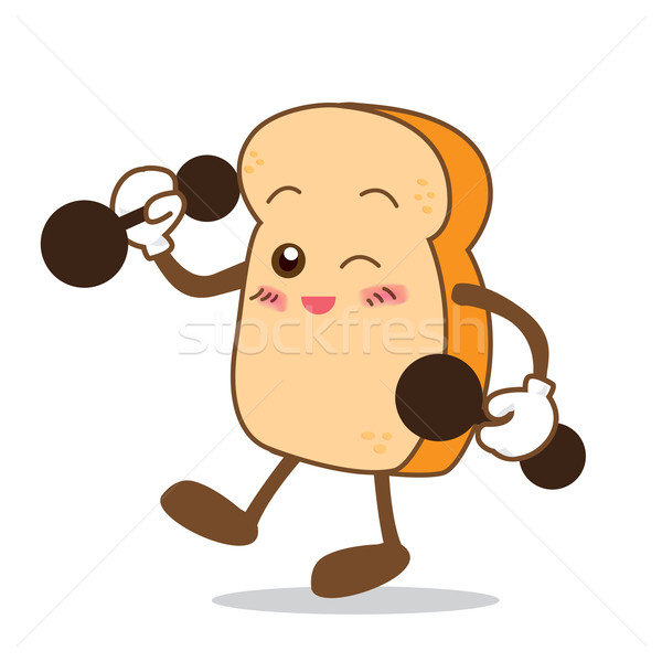 Bread-08 Isolated happy smile stronger Slice of bread cartoon Stock photo © kaikoro_kgd