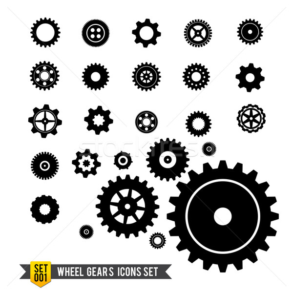 Set of circle wheel gear icon Stock photo © kaikoro_kgd