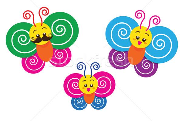Aile gülen renkli kelebekler karikatür maskot Stok fotoğraf © kaikoro_kgd