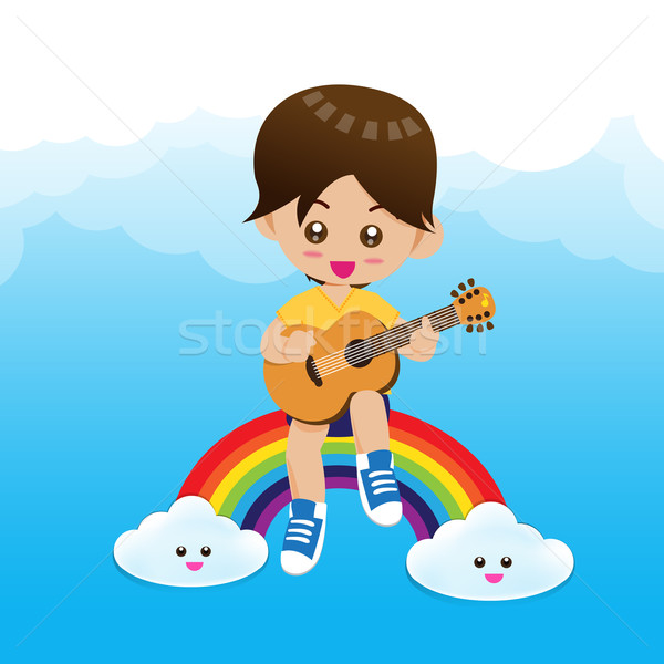 Sevimli küçük erkek çocuk oynama müzik Stok fotoğraf © kaikoro_kgd