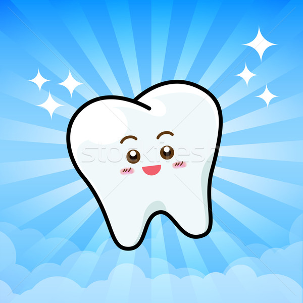 Happy Dental Smile Tooth Mascot Cartoon Character on sunburt blu Stock photo © kaikoro_kgd