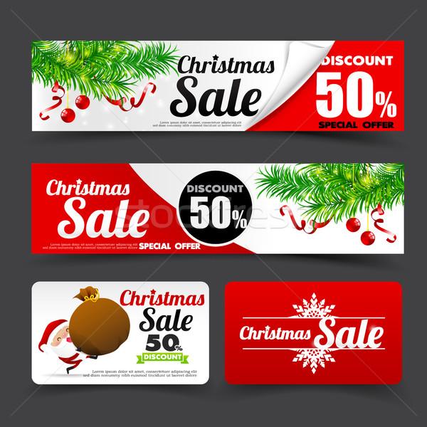 Toplama neşeli Noel etiket afiş Stok fotoğraf © kaikoro_kgd