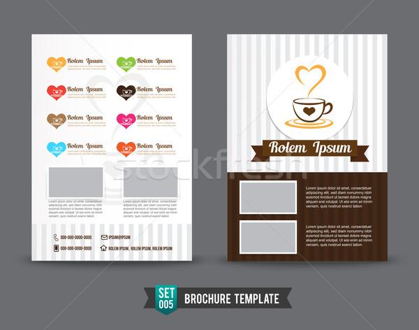 Uçan broşür şablon kahve alışveriş tasarım şablonu Stok fotoğraf © kaikoro_kgd