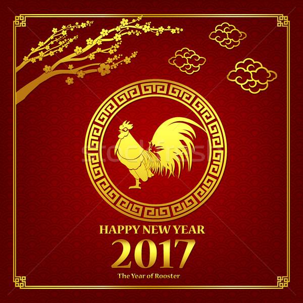 Happy new year Çin sanat stil kırmızı horoz Stok fotoğraf © kaikoro_kgd
