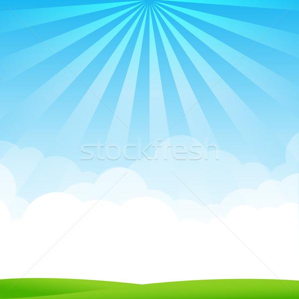 自然 青空 コピースペース 雲 緑 フィールド ストックフォト © kaikoro_kgd