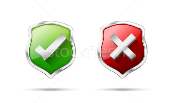 Right accept and wrong symbol protection shiled on the white bac Stock photo © kaikoro_kgd