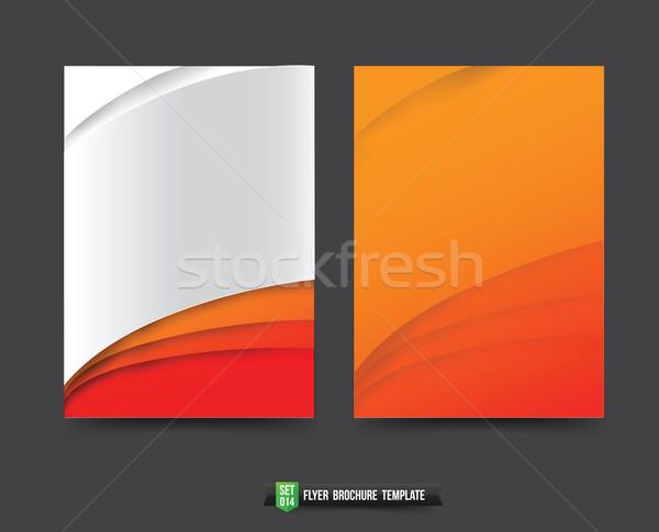 チラシ パンフレット オレンジ 曲線 抽象的な ストックフォト © kaikoro_kgd