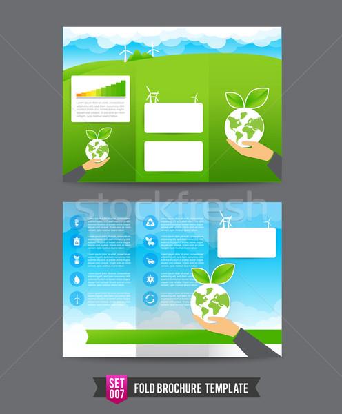 Broşür şablon eco kitap sanat kurumsal Stok fotoğraf © kaikoro_kgd