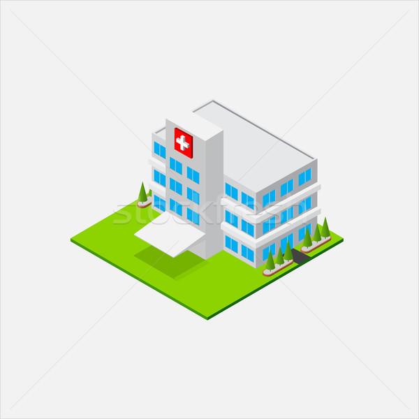 Isometric Small Hospital healty and medical center Stock photo © kaikoro_kgd