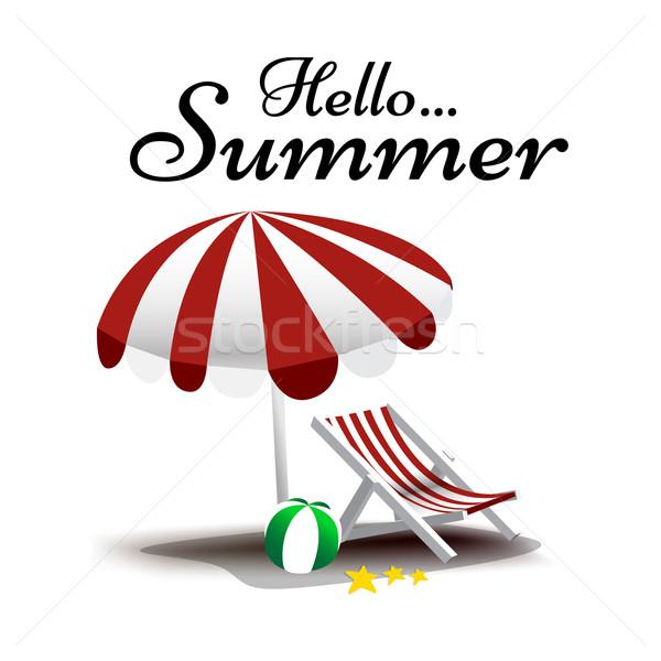 Merhaba yaz metin şezlong şemsiye vektör Stok fotoğraf © kaikoro_kgd
