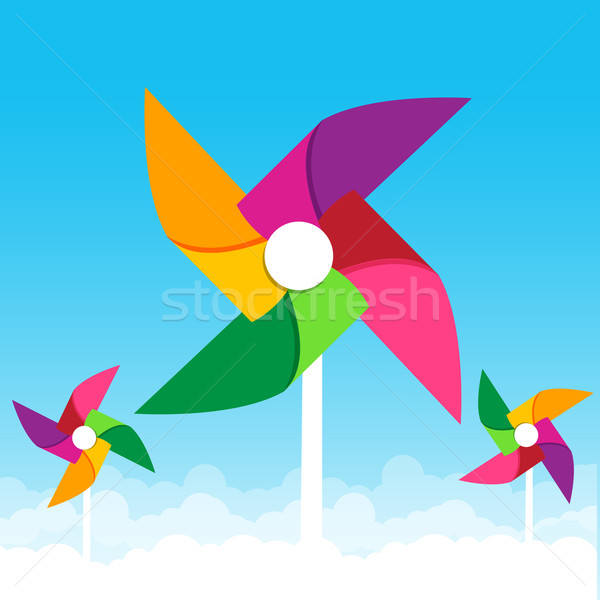Colorful paper wind turbine on blue sky background vector illust Stock photo © kaikoro_kgd
