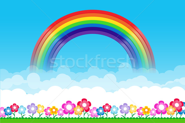 Rainbow on Nature background with green grass and flowers and bl Stock photo © kaikoro_kgd