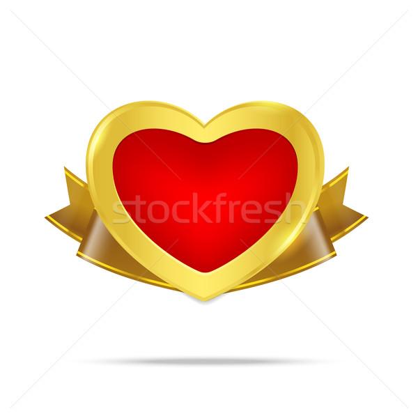 Prima oro placa etiqueta banner corazón Foto stock © kaikoro_kgd