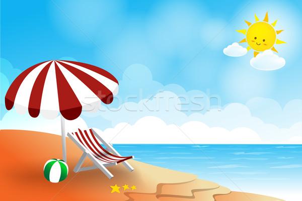 ビーチ 風景 海 太陽 空 雲 ストックフォト © kaikoro_kgd