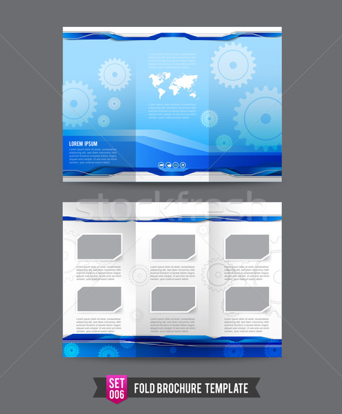 Fold Brochure background template 0006 Gear technology concept Stock photo © kaikoro_kgd