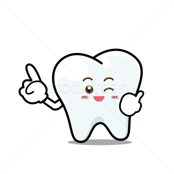 Mutlu diş gülümseme diş maskot Stok fotoğraf © kaikoro_kgd