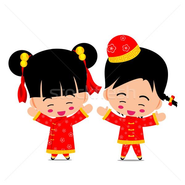 中国語 少年 少女 デザイン 装飾 ストックフォト © kaikoro_kgd