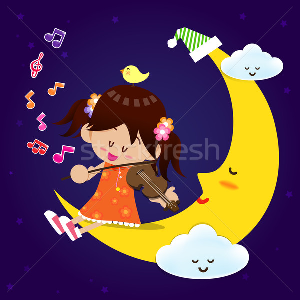 Stock photo: Cute Girl play music with moon at night