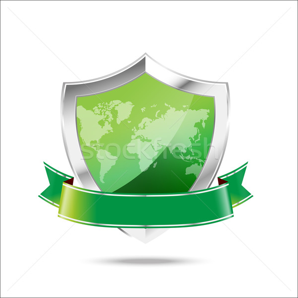 World map protection metal shield  on the white background Stock photo © kaikoro_kgd