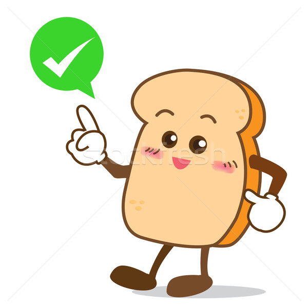 Bread-11 Isolated happy smile shop right Slice of bread cartoon Stock photo © kaikoro_kgd
