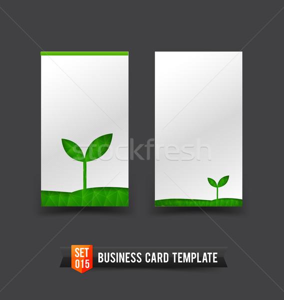 名刺 テンプレート セット 15 生態学 緑 ストックフォト © kaikoro_kgd