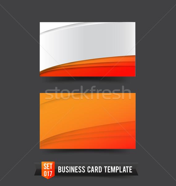Kartvizit şablon ayarlamak turuncu eğri dalga Stok fotoğraf © kaikoro_kgd