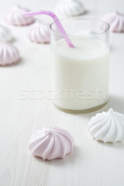Stock fotó: Tej · közelkép · üveg · rózsaszín · szalmaszál · fény