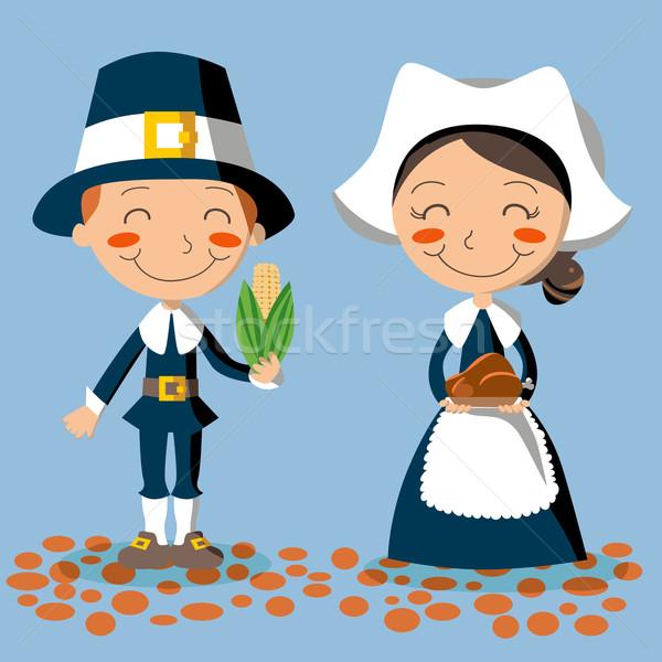 Ação de graças dia peregrino casal milho Foto stock © Kakigori