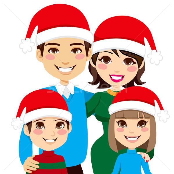 Mikulás családi portré portré illusztráció karácsony család Stock fotó © Kakigori