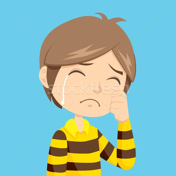 Fiú sír magányos szomorú kicsi pólóing Stock fotó © Kakigori