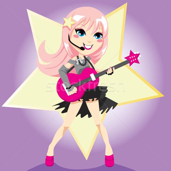 Menina estrela do rock rosa cabelo jogar Foto stock © Kakigori