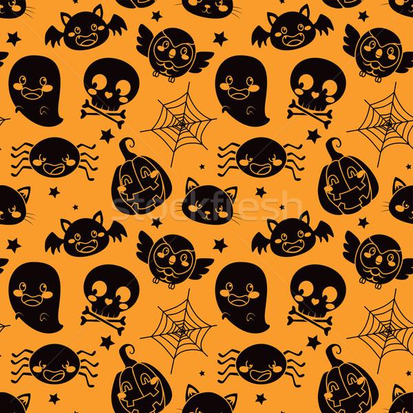 Halloween pomarańczowy wzór czarny elementy Zdjęcia stock © Kakigori