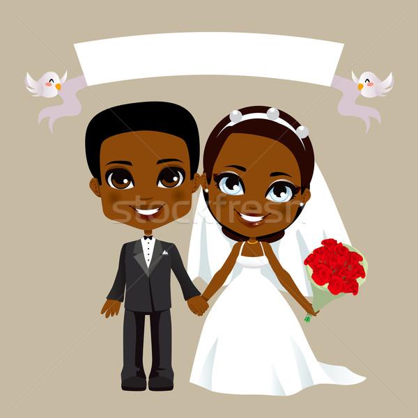 Stock fotó: Fekete · pár · esküvő · illusztráció · fehér · szalag