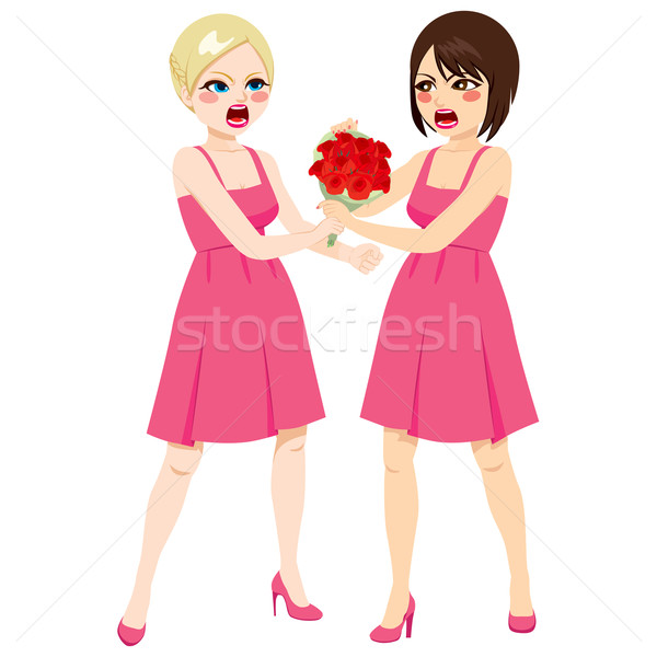 Fighting Bridesmaid Bouquet Stock photo © Kakigori