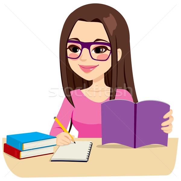 Girl Studying Taking Notes Vector Illustration C Kakigori