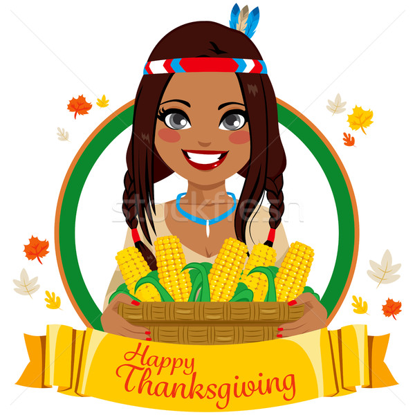 Thanksgiving Native American Woman Stock photo © Kakigori