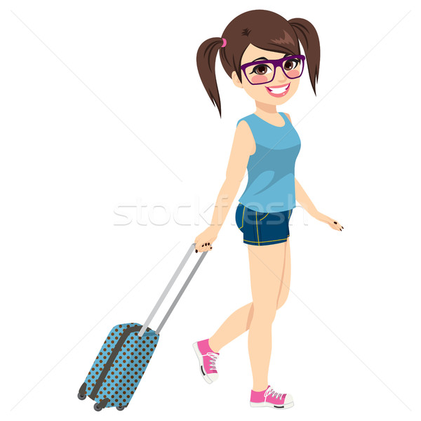Stok fotoğraf: Kız · tatil · seyahat · sevimli · genç · inek · öğrenci
